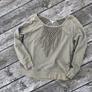 Green fringe sweater
